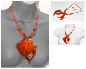 8b93a5614d23 Collar Aretes Moda Casual Pluma Naranja Bisutería Dama Cc583