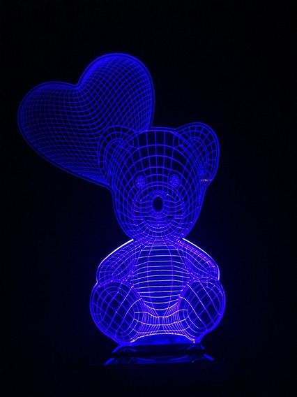 Luminária Urso Com Coração (balão) 3d Em Acrílico