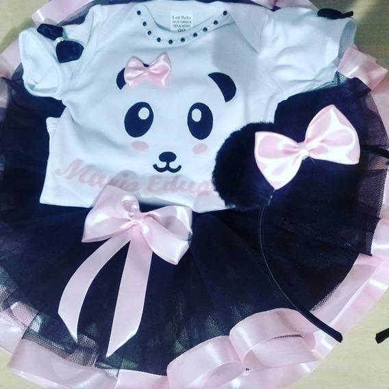 Fantasia Ursinha Panda Tutu+ Body+ Tiara Pompom Aniversário