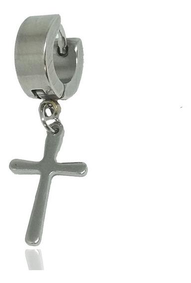 Brinco Masculino Argola 4mm Pingente Cruz-1peça(não É O Par)