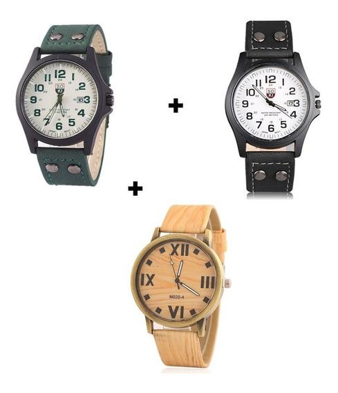 Kit Com 3 Relógios Para Homem Presente Ideal E Barato Luxo