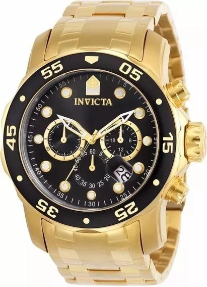 Relógio Invicta Pro Diver 0072 B. Ouro Preto Com Caixa
