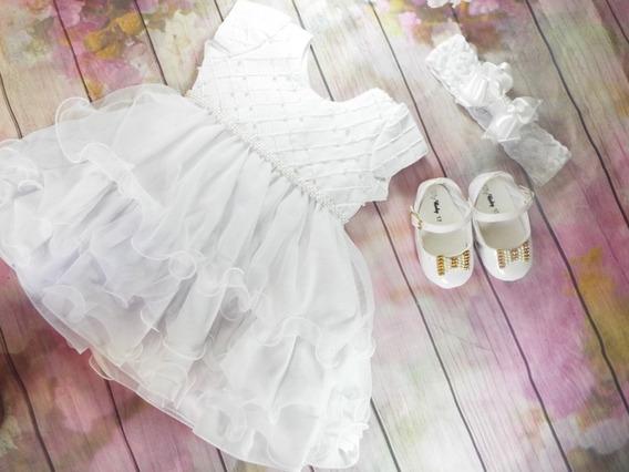 Vestido De Batizado Menina + Sapato + Tiara Luxo 2402