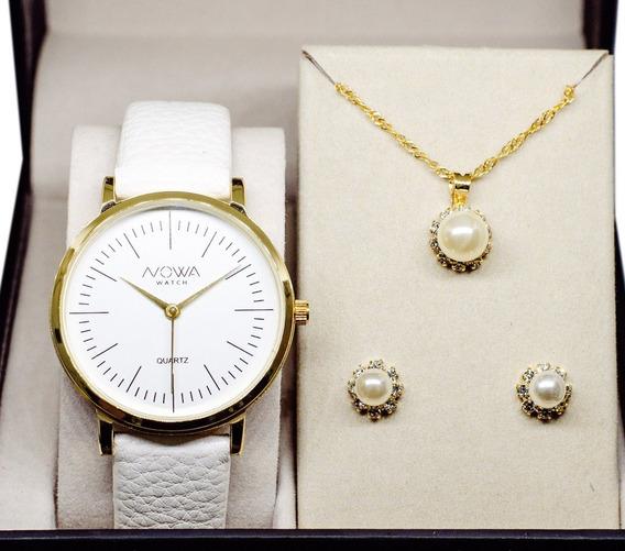 Relógio Nowa Feminino Dourado Couro Nw1407k Kit Brinde