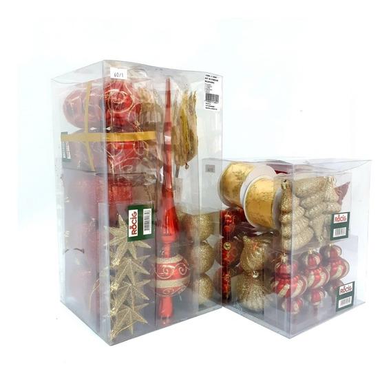 Kit De Adornos 60 Pzas. Rojo/oro Para Árbol De Navidad