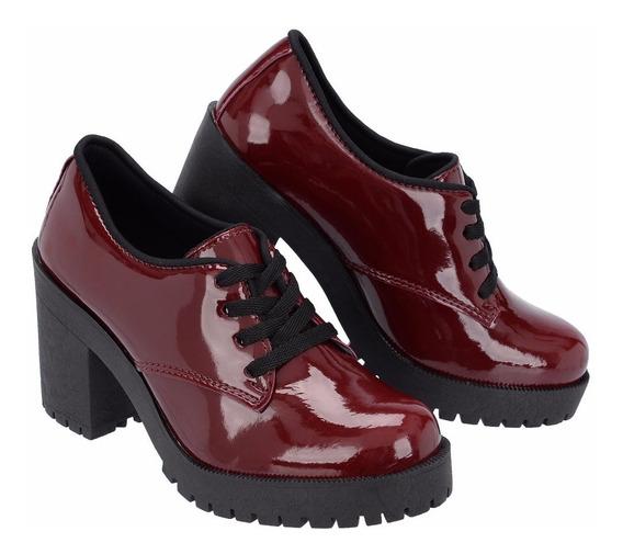 Sapato Oxford Cano Curto Salto Grosso Trator Verniz Lançamen