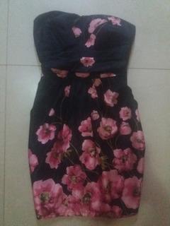 Vestido Hermoso Negro Floreado Elegante Y Casual