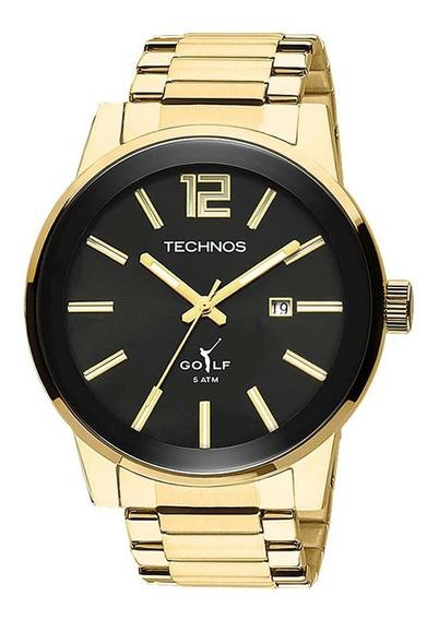 Relogio Masculino Dourado Technos Golf 2115tt/4p Original.