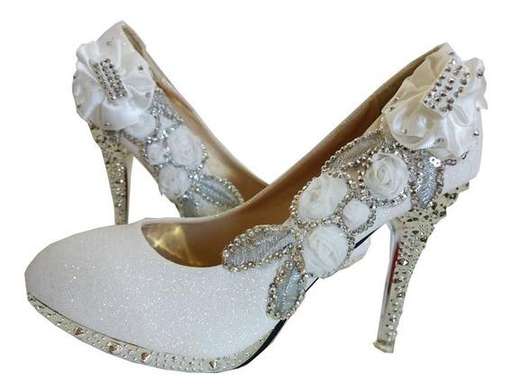 Sapato Cristal Glitter Importado Casamento Festa Luxo
