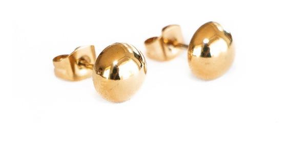 Aretes Broquel Acero Inoxidable 316 L Oro Bolita