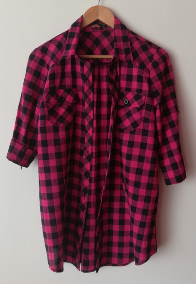 Camisa Casual A Cuadros Fucsia/negro Marca Forever21 Talle S