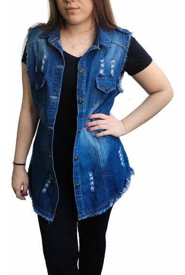 Colete Jeans Max Feminino Comprido Oferta Lançamento