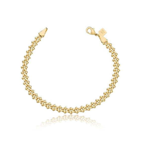 Pulseira Semijoia Premium Ouro 18k Groumet Trabalhada Moda
