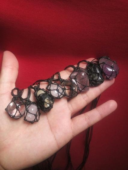 Kit 8 Colar Hippie Onix Ametista Quartzo Rosa Cristal Atacad