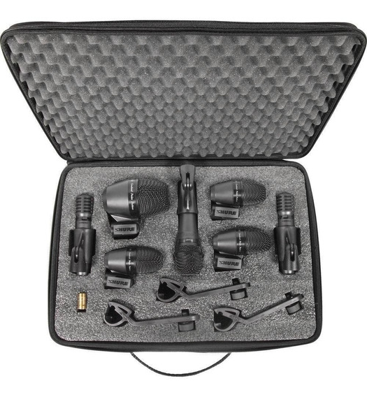 Microfone Dinâmico Shure Pgadrum Kit 7 Peças Para Bateria
