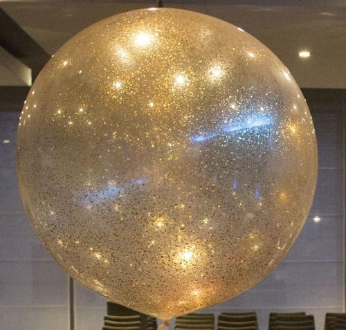 Globos Burbuja Escarchado Dorado Transparente 45cm 18