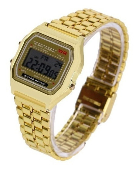Relógio Retro Unissex Vintage Wr Dourado