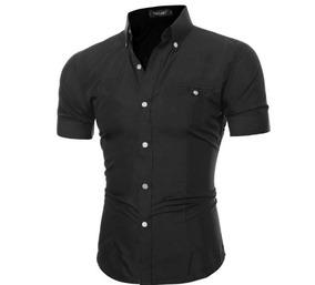 Camisa Social Slim Fit 100% Algodão Manga Curta Mod Ct72p