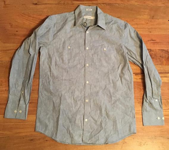 Padrisima Camisa Calvin Klein Azul Claro S Regular Fit Origi