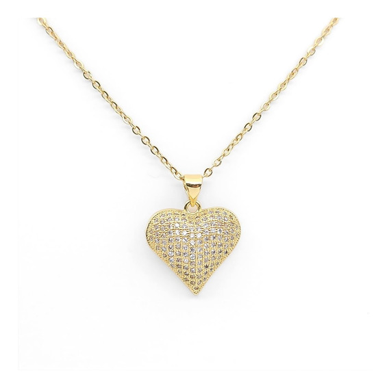 Hermoso Collar Corazón Dorado Piedras Brillantes Oro Plat