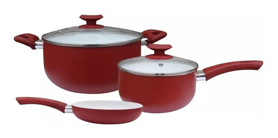 Bateria X 5 Pzas Porcelana Rojo Cerámica Olla Sarten Roswell