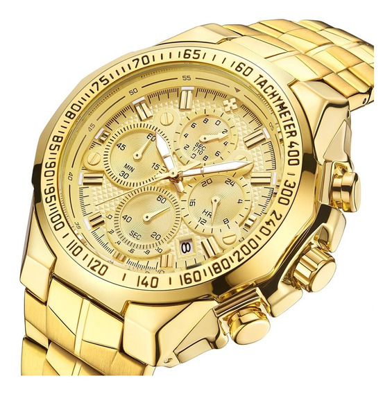 Relógio Masculino Wwoor Dourado 100% Funcional + Brinde