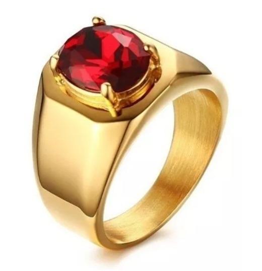 Anel Masculino Dourado Banhado Ouro Pedra Granada Elegante