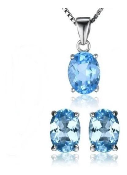 Brinco Colar Conjunto Joias Pedra Preciosa Topázio Azul
