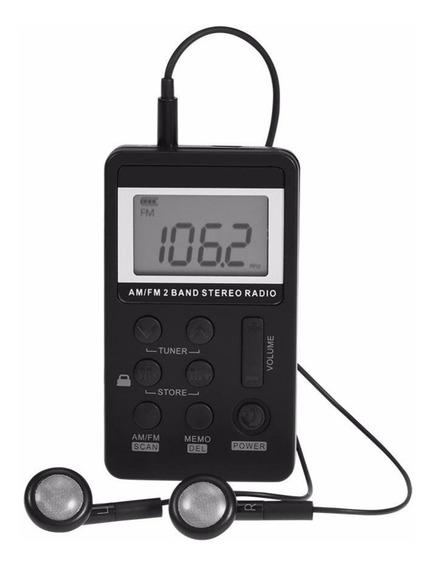 Mini Rádio De Bolso Digital Am/fm Bateria Recarregavel