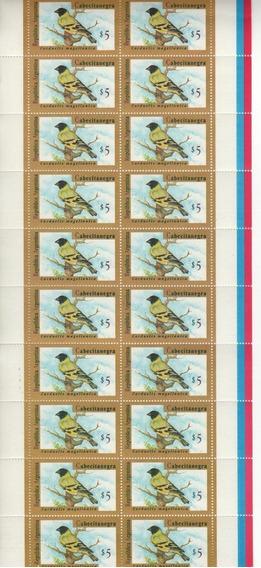 Filatelia Argentina Planchita Aves Cat. Jalil N° 2730