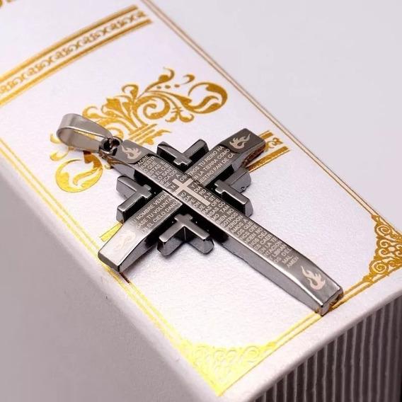 Colar Pingente Cruz Crucifixo Com O Pai Nosso