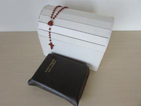 Bíblia Sagrada Ave Maria + Tercinho + Lindo Baú De Madeira