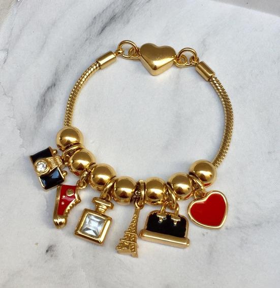 Pulseira Pandora Dourada Completa Travel Pulseiraria Chic