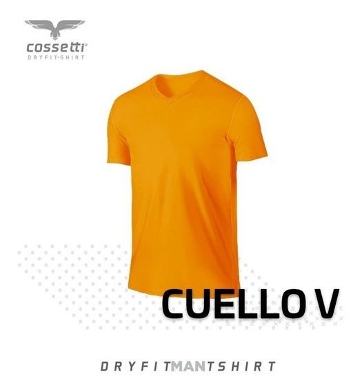 Playera Cuello V Cossetti Manga Corta Dry Fit Hombre