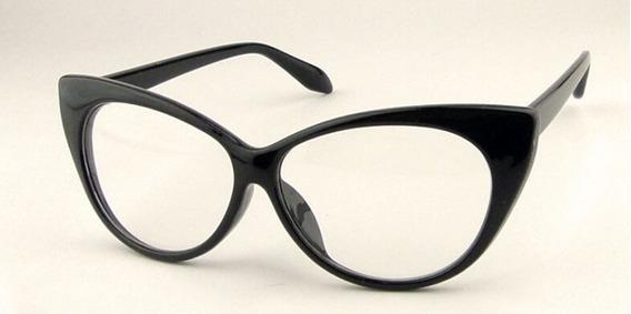 Óculos Armação Moda Gatinha Preto, Branco E Preto E Vermelho