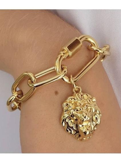 Pulseira Feminina Folheada 18k Com Torniquete Dourado Lion