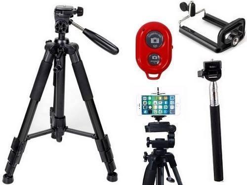 Tripé Universal Fotográfico Canon Nikon 1,50 Mt + Kit Self