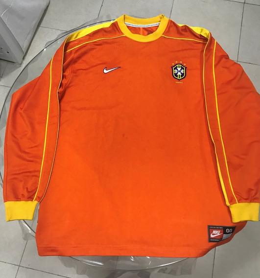 Camisa Goleiro Seleção Brasileira Nike Brasil 1998 Laranja