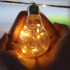 Cordão Varal 10 Lampada Luz Dourada Retro Fio Fada Led Pilha