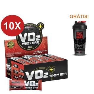 Kit 10x Vo2 Whey Protein Bar 24un Integralmédica + Brinde