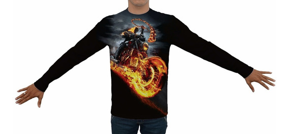 Camiseta Motoqueiro Fantasma - Manga Longa Estampa Total