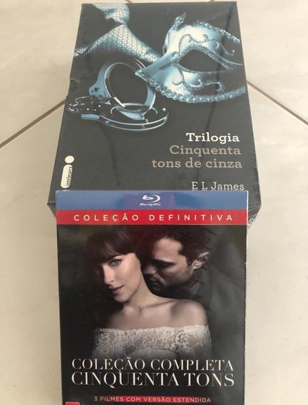 Livro Coleçao Cinquenta Tons + Blu Ray - 3 Filmes (lacrado)