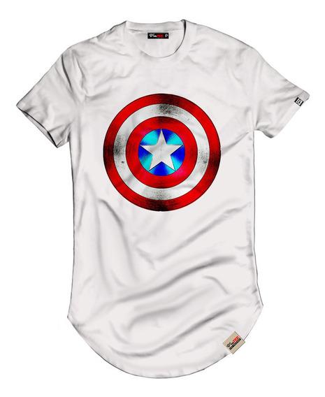 Camiseta Camisa Longline Capitão America Blusa Escudo Marvel
