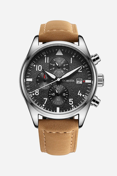 Relógio Pulso Couro Ochstin Preto Funcional Prova Dágua Luxo