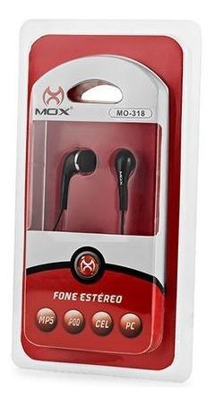 Fone De Ouvido Estéreo Mox Mo-318 Preto Encaixe Silicone