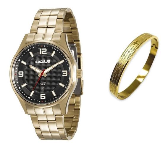 Kit Relógio Seculus Original + Bracelete Aço Inoxidável