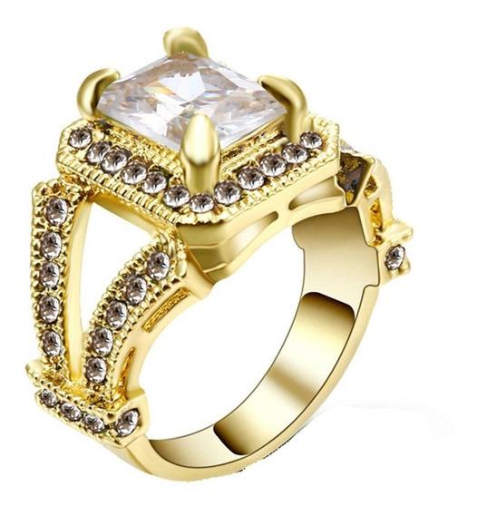 Anel Feminino Cravejado Cristal Branco Noivados 271