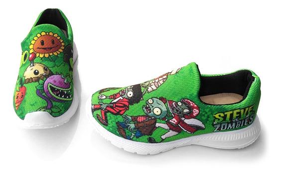 Zapatillas Plantas-zombies Personalizado Para Niños
