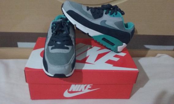 Tenis Nike Air Max 90 Azul E Cinza Nº34/35 Original Na Caixa