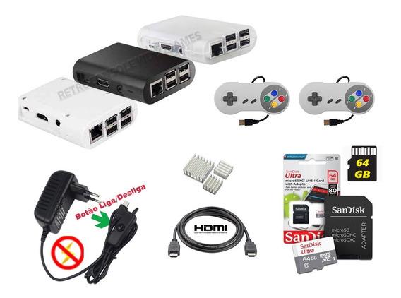 Kit Case Raspberry Pi 3 + Fonte, Hdmi, 2 Controles + 64gb